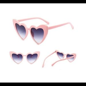 Heart shaped pink cat eye sunglasses